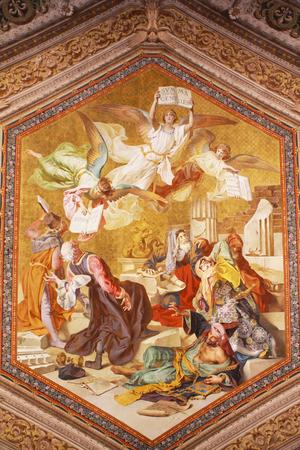 벽에 바티칸 프레스코 화 에디토리얼