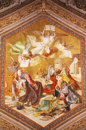 Vaticaan fresco aan de muur Redactioneel