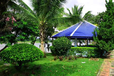 lawn chair: Pavilion in the park in thailand Stock Photo