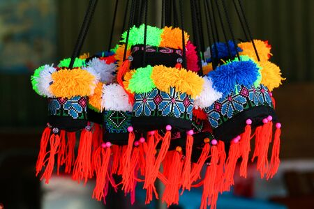 handlers: Gift bags, travel bags, from the mountains, Thailand. Stock Photo