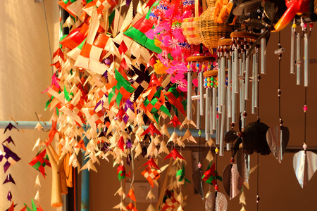 Wind chimes, wood carvings, animal, beautiful, melodic voice will sound when the wind blows.