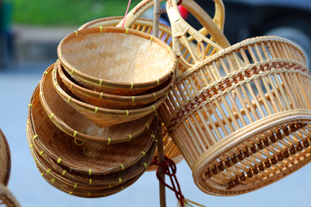 Bamboo basket, wisdom in Thailand, made from bamboo.