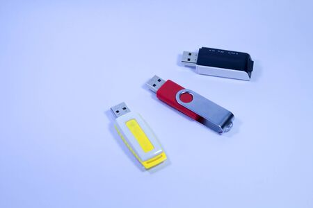 The image of a flash drive on a white background. Stock Photo