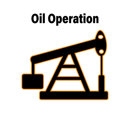 Vector oil rig icon on background Illustration