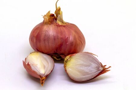 Shallots on a white background, used for cooking,universal food