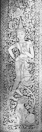 Black & White texture of Angel in Buddha style on Thai temple door.  Editorial