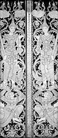 Black & White texture of Angel in Buddha style on Thai temple door.