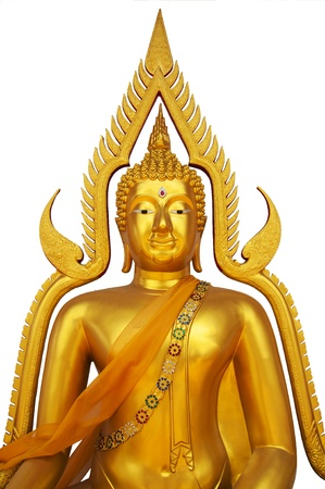 Golden buddha statue over white background background