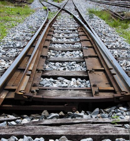 railway train. way to target or way to goal.  Stock Photo