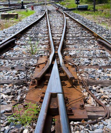 railway train. way to target or way to goal.  Stock Photo