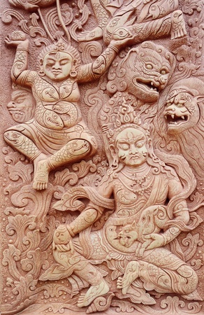 Texture of Angel & Demon in Buddha style.