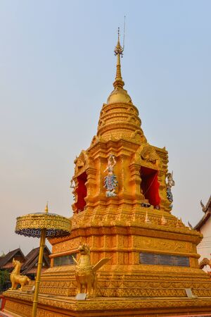 Golden stupa in Thailand, Buddha religion sign