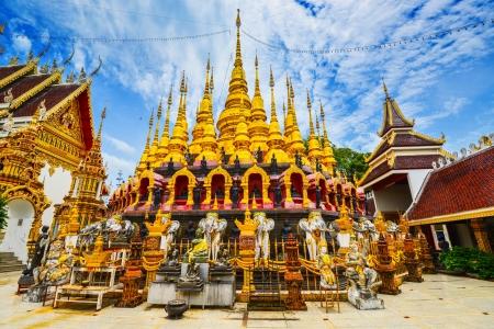 Golden stupa on blue sky  Buddha sign  beuatiful landscape