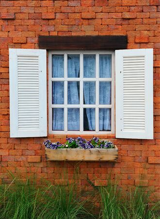 Window and brick wall old style