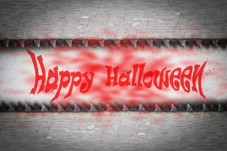 rustproof: The saw blade on the old steel coated with rustproof for background with text happy halloween. soft light.