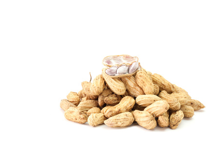 Boiled peanuts for healthy isolated from white background. (selective focus)