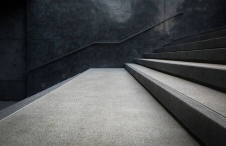 interior walls: Perspective of the staircase and railing on concrete or marble walls for background. Stock Photo