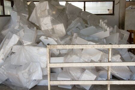 The waste pile of foam is not used. Unused foam waste. Types of waste that can be recycled.