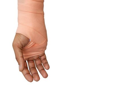 The arm of the patient or accident that needs to be splint isolated on white background with clipping path. Medical image, editing available.