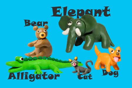 Statues like cute animals for children, like children's toys. Molding from plasticine to enhance children's learning skills. 免版税图像