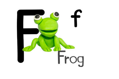 Statues like cute animals for children. Molding from plasticine for learning alphabet-F. Cartoon characters, Frog isolated on white background. 免版税图像