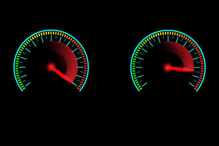 Speed meter with red gauge needle glowing in the dark. Concept of high speed motion.