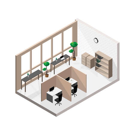 Isometric modern office room with white brick walls with a wall clock and several clear glass windows isolated on white background. 向量圖像