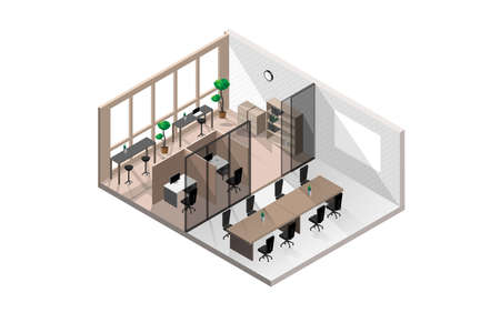 Isometric modern office room with white brick walls with meeting room or seminar room and several clear glass windows isolated on white background.