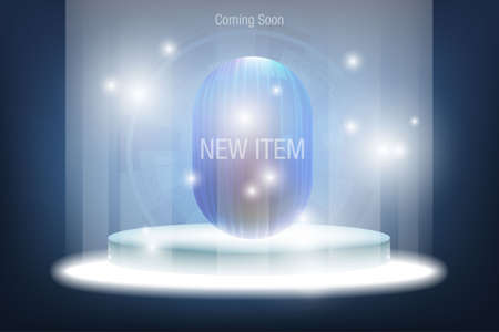 Technology dark blue background for product display presentation new item represented by a circular platform with beams of light from above and below and diffused by circular light on gradient blue