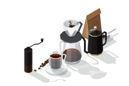 Isometric vector illustration set of coffee preparation consisting of Coffee beans in paper bag coffee cup on a white plate and kettle filter cup and manual grinder isolated on white background