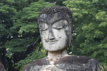 the old days: Buddha head sculpture in the old days
