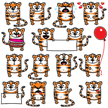 cheesy: Smiley tigers individually grouped for easy copy-n-paste. Vector. Illustration