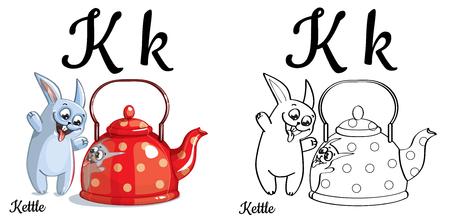 Kettle. Vector alphabet letter K, coloring page Çizim