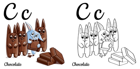 english letters: Chocolate. Vector alphabet letter C, coloring page