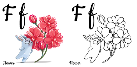 english letters: Flower. Vector alphabet letter F, coloring page