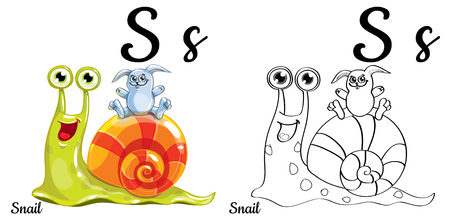 Snail with letter S Illustration