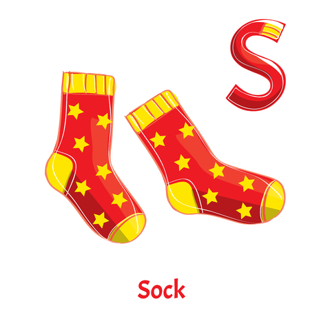 Vector alphabet letter S. Sock