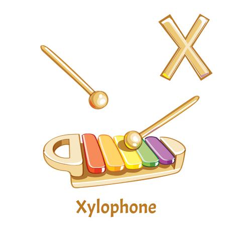 Lettera alfabeto vettoriale X. Xilofono