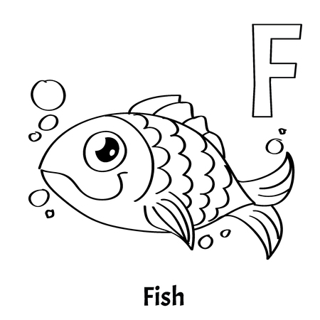 Vector Alphabet Letter F Coloring Page Fish Stock