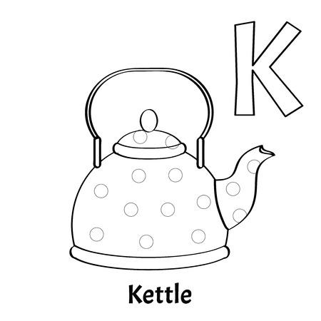 Vector alphabet letter K, coloring page. Kettle Çizim