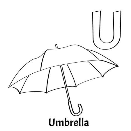 english letters: Vector alphabet letter U, coloring page. Umbrella
