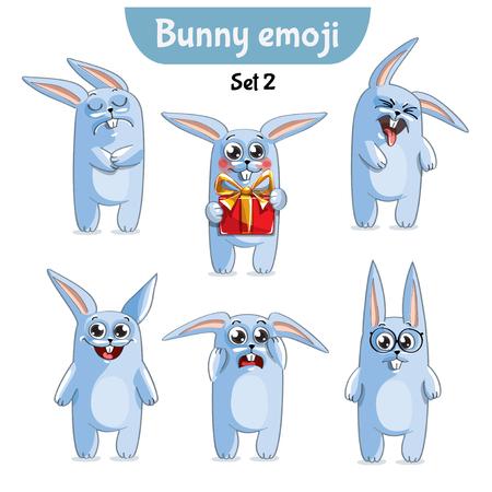 Vector set of cute rabbit characters.