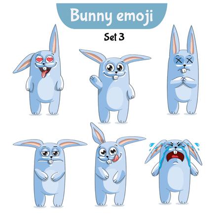 Vector set of cute rabbit characters. Set 3 vector illustration