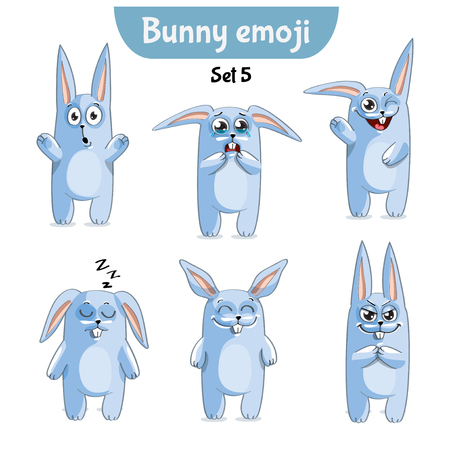 Vector set of cute rabbit characters. Set 5 vector illustration Illustration