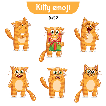 Set kit collection sticker emoji emoticon emotion vector isolated illustration happy character sweet, cute red cat, kitty