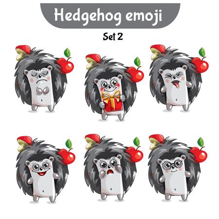 Vector set of cute hedgehog characters