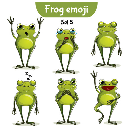 Vector set of cute frog characters. Set 5 Illustration