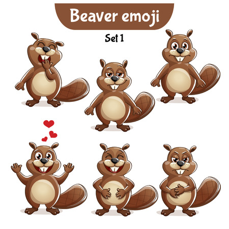 Set kit collection sticker emoji emoticon emotion vector isolated illustration happy character sweet, cute beaver