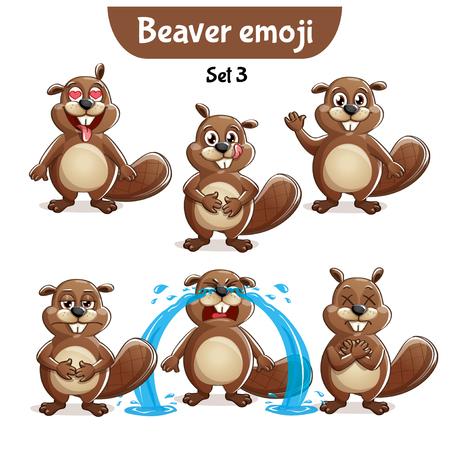 Vector set of cute beaver characters. Set 3