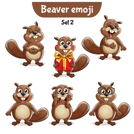 Vector set of cute beaver characters. Set 2